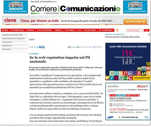 """Reputazione Web: Il Corecom Lombardia accende i riflettori sul tema delle """"influenze"""" dei new media."""