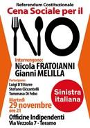 Referendum. Martedi 29 novembre i Deputati Sinistra Italiana Fratoianni - Melilla a Teramo per il No