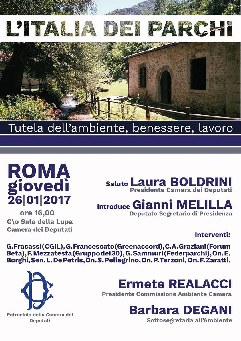 """Giovedi 26 gennaio convegno """"L'Italia dei Parchi Tutela dell'ambiente, benessere e lavoro"""""""