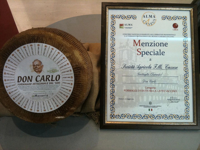 """Menzione Speciale """"Alma Caseus"""" al Don Carlo, tra i migliori formaggi d'Italia"""