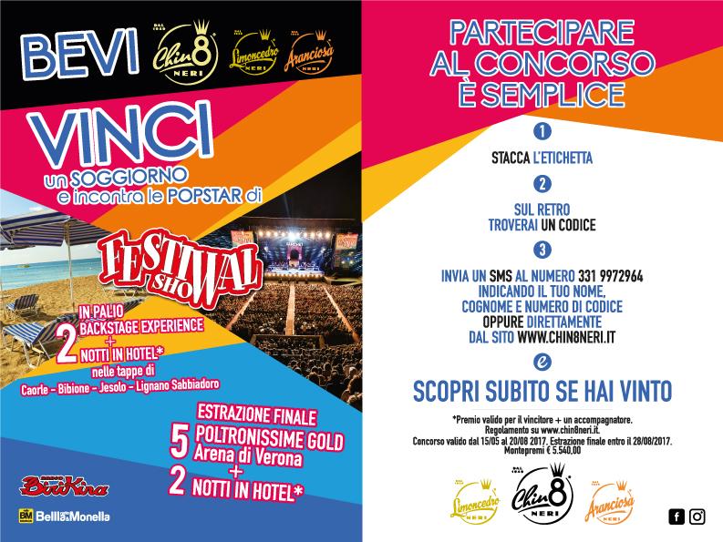 Il nuovo concorso Neri ti regala la grande musica. Con Chin8, Aranciosa e Limoncedro incontri le Popstar di Festival Show