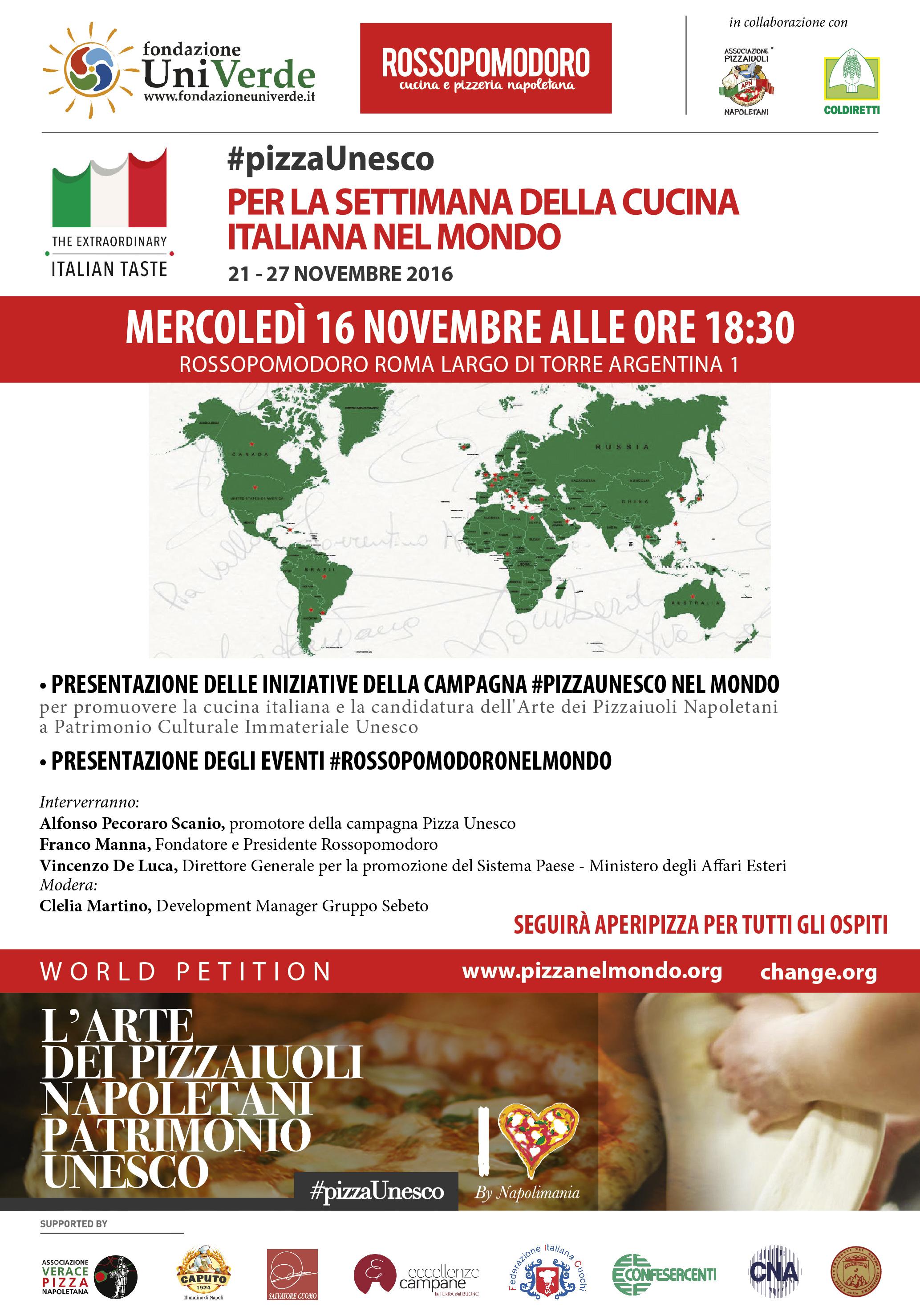 Pizzaunesco per la settimana della cucina italiana nel for Ricette per tutti i giorni della settimana