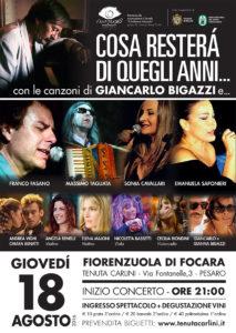 Cosa resterà di quegli anni... La musica di Giancarlo Bigazzi. Concerto alla Tenuta Carlini a Fiorenzuola di Focara (PU), nel Parco Naturale San Bartolo