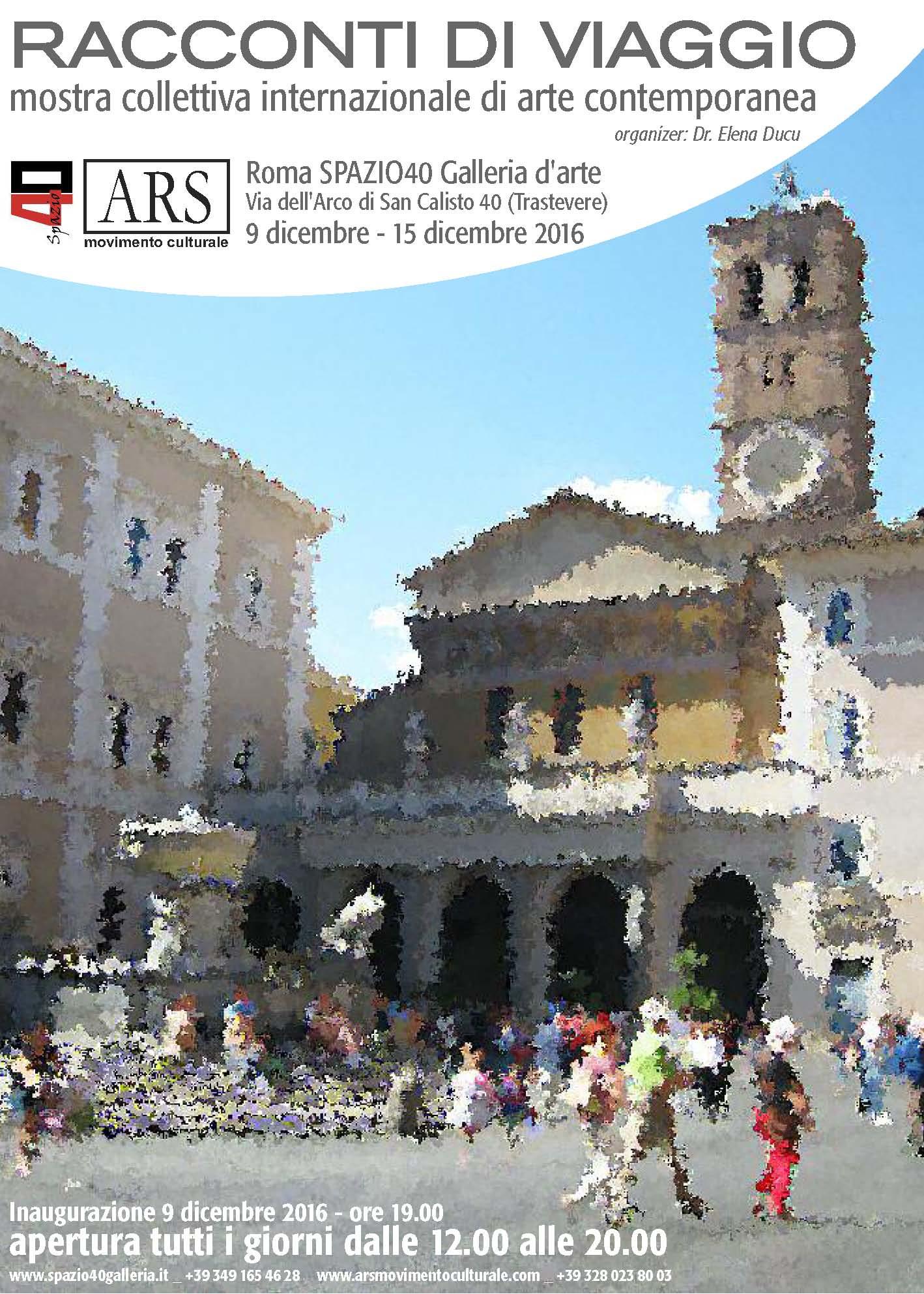"""""""Diari di viaggio"""" Collettiva d'Arte dal 9 al 15 dicembre 2016 Galleria Spazio40-Roma"""